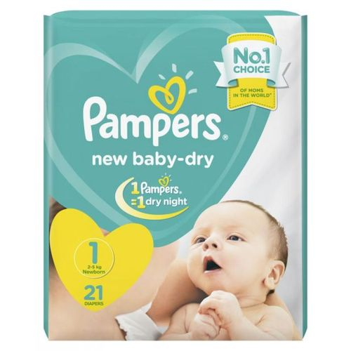 Baby Dry Diapers - Size 1 - 21 Pcs