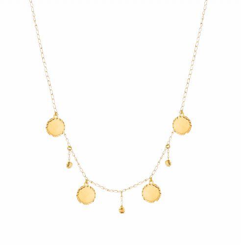 سلسلة دوائر حب، من الذهب الأصفر، عيار 18 قيراط