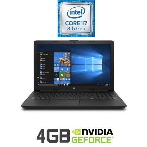 HP 15-da1015ne لاب توب - Intel Core I7 - 8 جيح بايت رام - 1 تيرا بايت درايف هارد ديسك - 15.6-بوصة HD - 4 جيجا بايت مُعالج رسومات - DOS - أسود