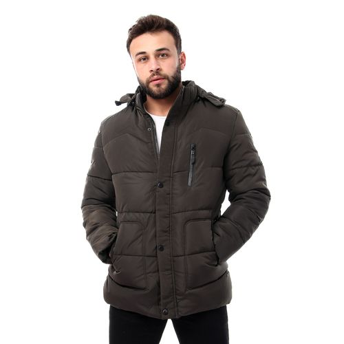 Premoda Dark Olive Hooded Puffer Jacket With Linen Fur