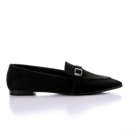 Suede Pointed Slip On Ballerina - Black