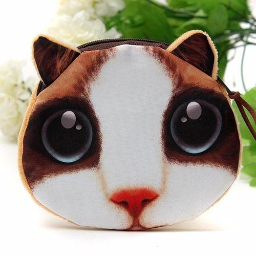 New Cute Cat Dog Face Zipper Purse Coin Wallet Women Girl Makeup Bag Pouch Case