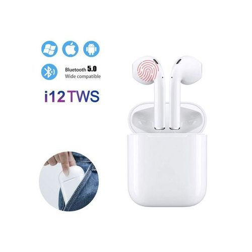 product_image_name-TWS-I12 Touch Double Wireless Bluetooth Headphones - White-1