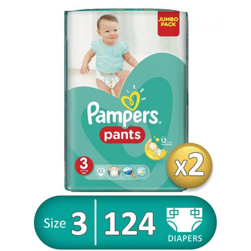Baby Pants Diapers - Size 3 - 62 Pcs - 2 Packs