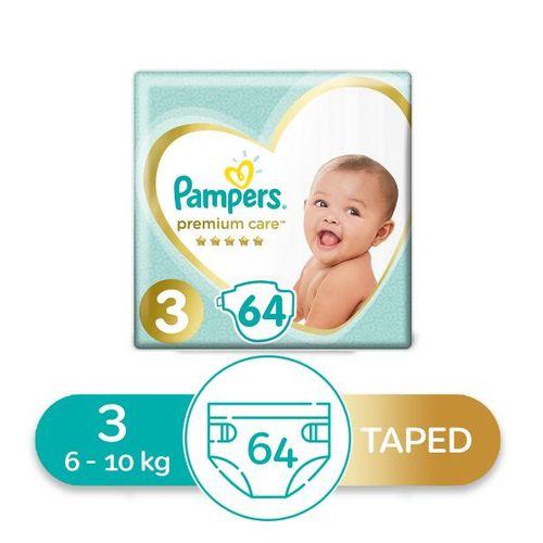 Premium Care Diapers - Size 3 -64 Pcs