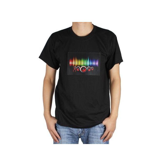 Sound activated LED Detachable EL Panel Light Music T-Shirt Party Disco Clothes