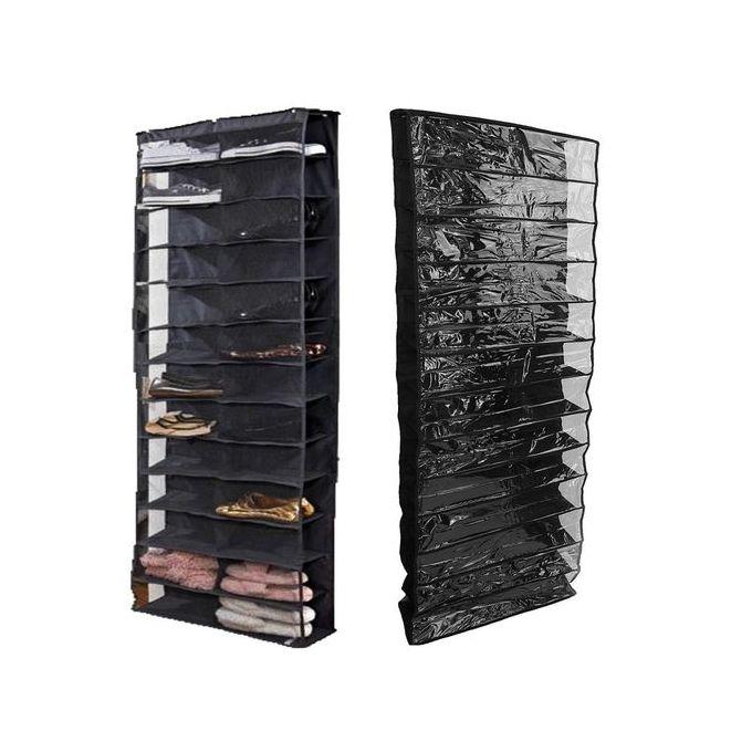 26 Pair Over Door Hanging Shoe Rack Shelf Storage Stand Organiser Pocket Holder Intl