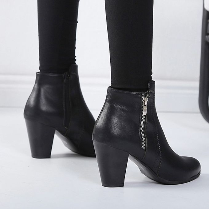 Women Vintage Chunky High Heels Thick Heel Short Boot Ankle Booties Zipper Shoes Black