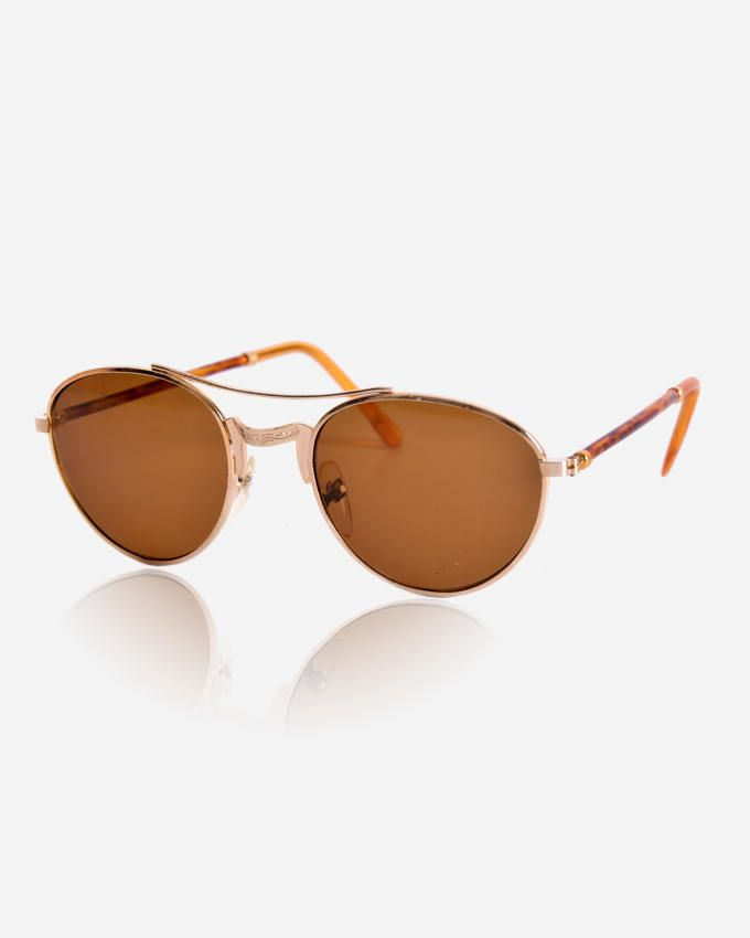 Ticomex Vintage Rounded Unisex Sunglasses - Gold Frame with Brown Lenses logo