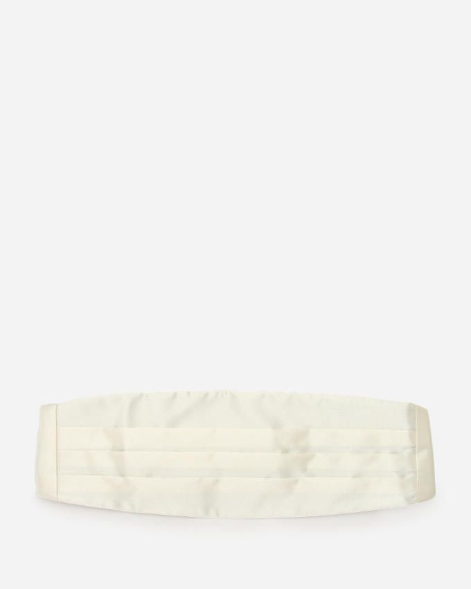 Yves Enzo Off-White Satin Pleated Cummerbunds