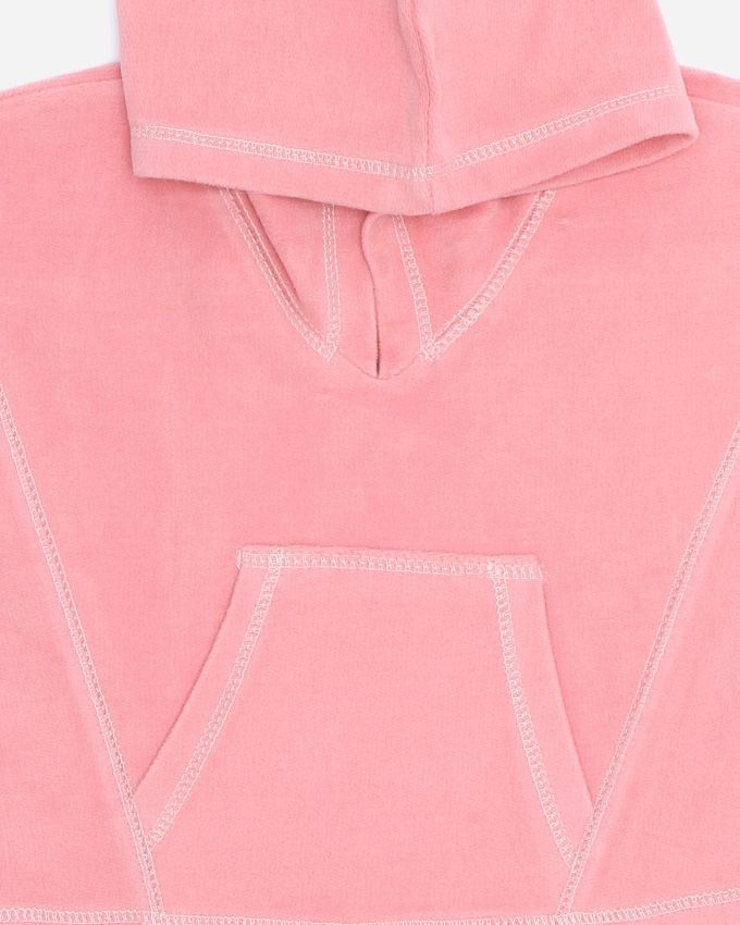 Girls Kangaroo Velvet Sweatshirt - Pink