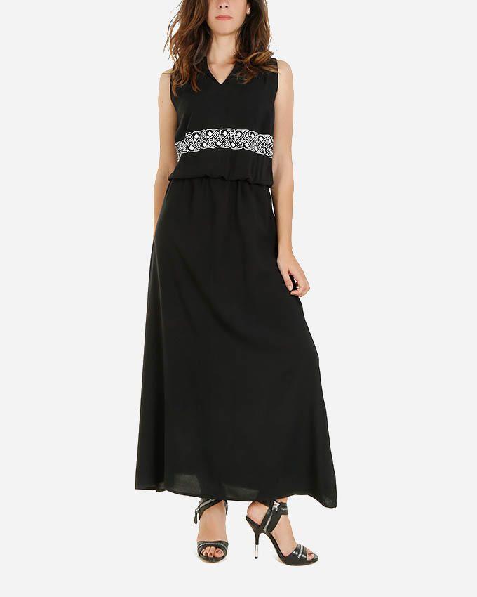 Giro Printed Maxi Dress -  Black