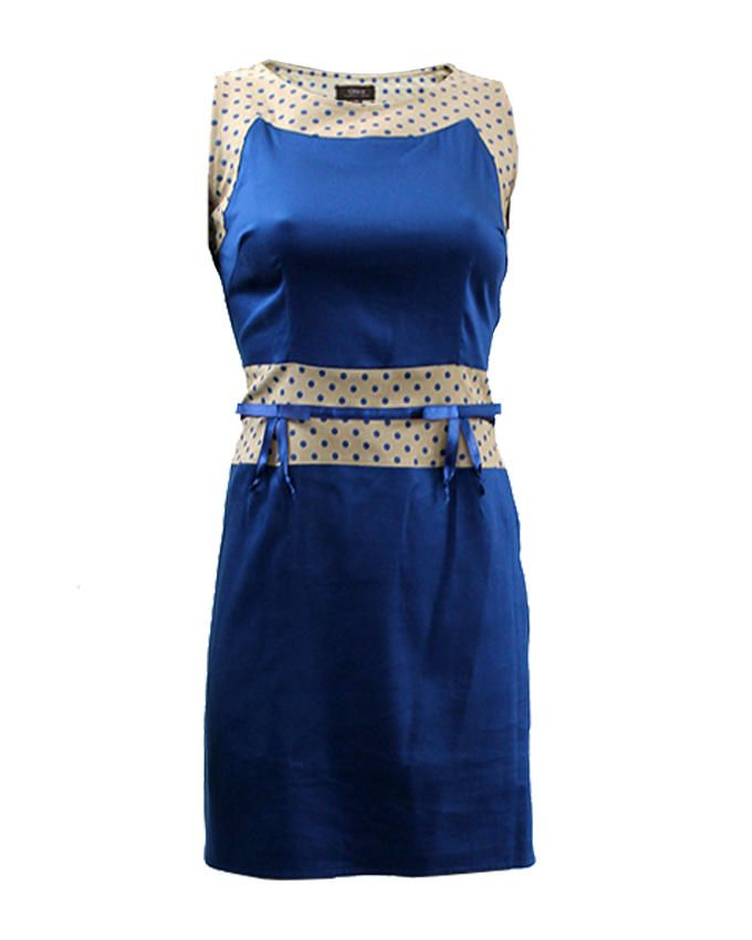 Giro Royal Blue & Beige Gabardine/Cotton Sleeveless Dress