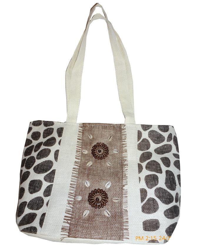 Friends Brown Linen Hand Bag