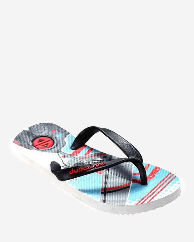 Dupѐ White and Black Flip Flop logo
