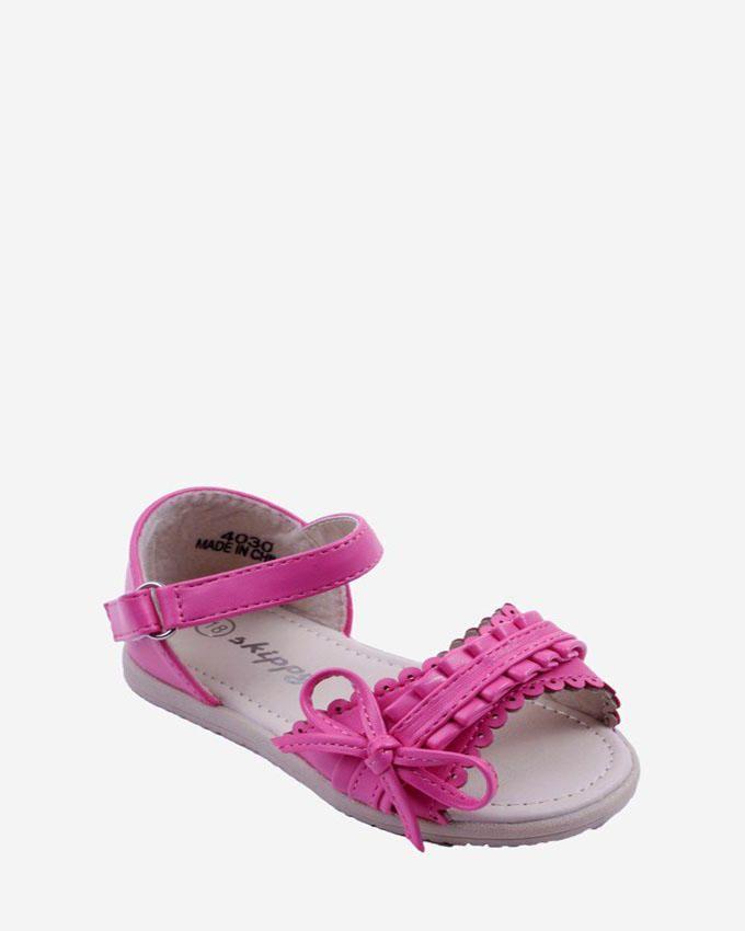 Skippy Girls Fuchsia Sandal With Slim Side Bow