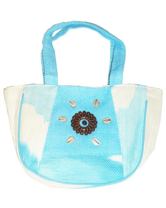 Friends Turquoise Linen Handbag