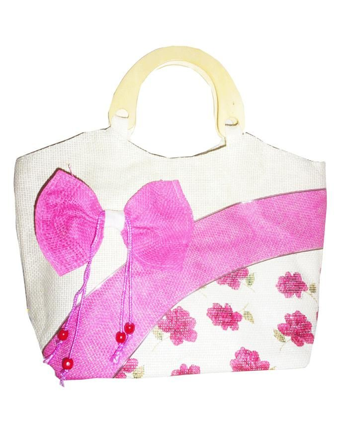 Friends Fuchsia Linen Hand Bag with Decorative Bow