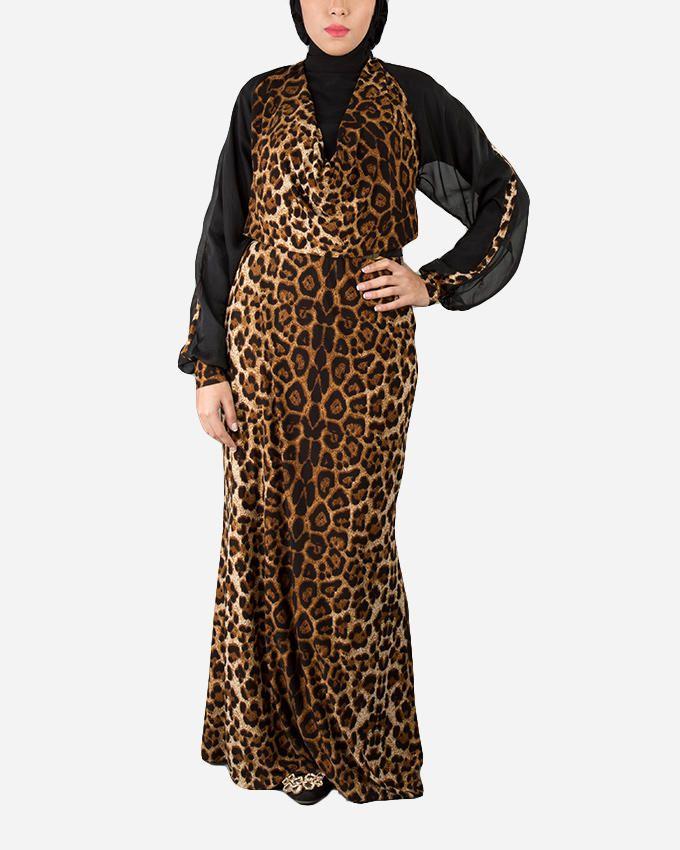 Glow Maxi Dress with Leopard Pattern - Black/Camel