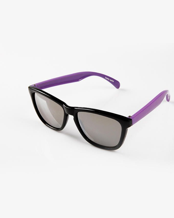 Ticomex Dual Color Vintage Butterfly Kids Sunglasses - Black Frame with Purple Oversized Handles