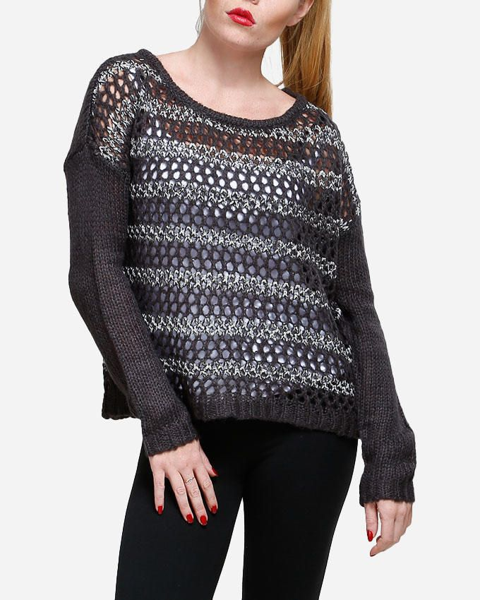 VERO MODA ONLY Striped Knitted Hole Pullover - Thunder Grey logo