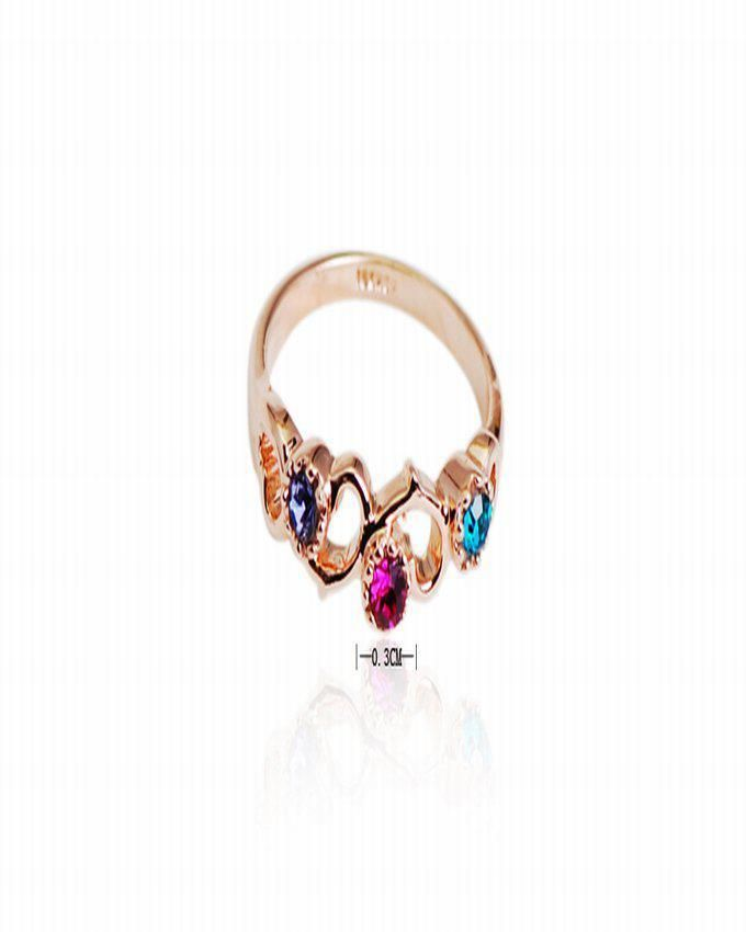 Dinardo 18K Gold Plated Swarovski Ring with Colorful Stones