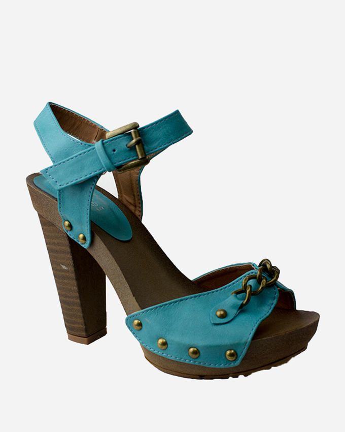 Walkies Blue PU Leather Platform with metal