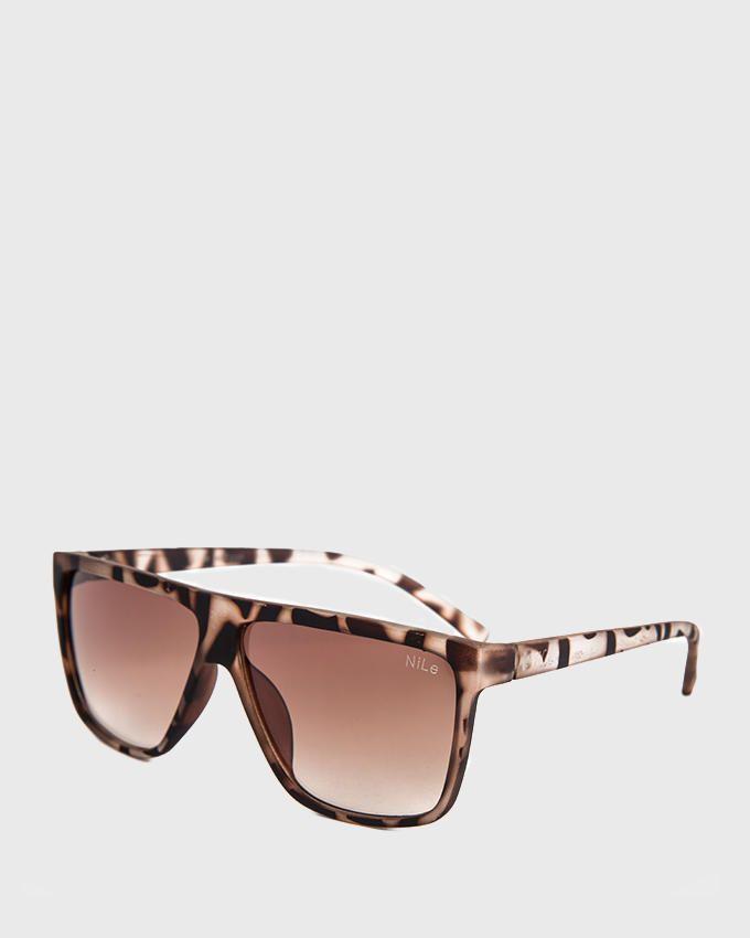 Nile Wayfarer Style Patterned Sunglasses - Light Café