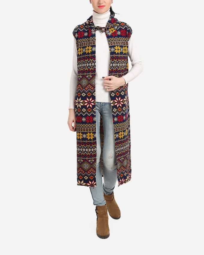 Sleeveless Hooded Cardigan - Navy Blue, Red & yellow