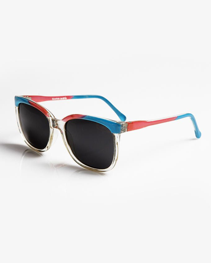 Ticomex Colorful Oval-Shaped Kids Sunglasses with Transparent Bottom Frame - Blue & Red