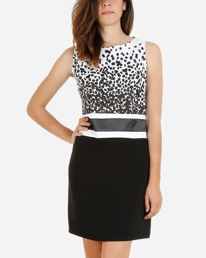Giro Confetti Sleeveless Shift Dress - Black & White