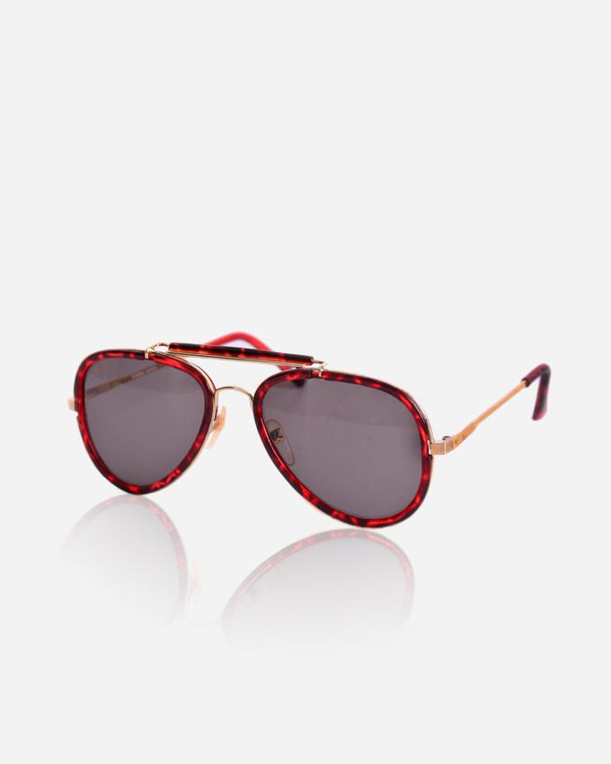 Ticomex Pilot men's Sunglasses - Red Havana Frame with gold handles