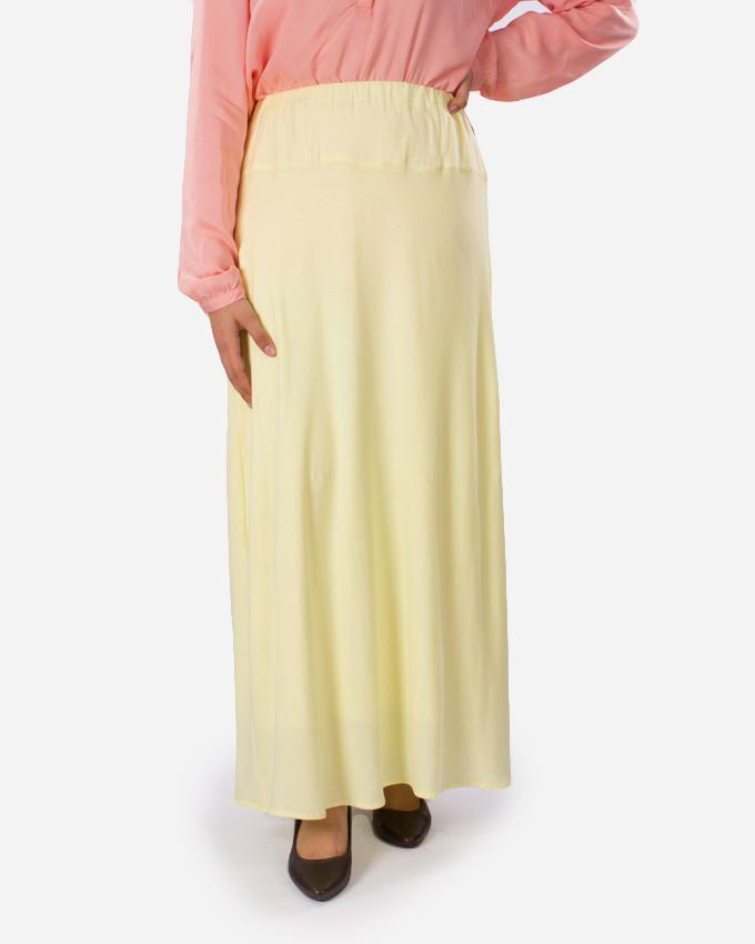 Rehan Canary Yellow Lycra Cotton Skirt