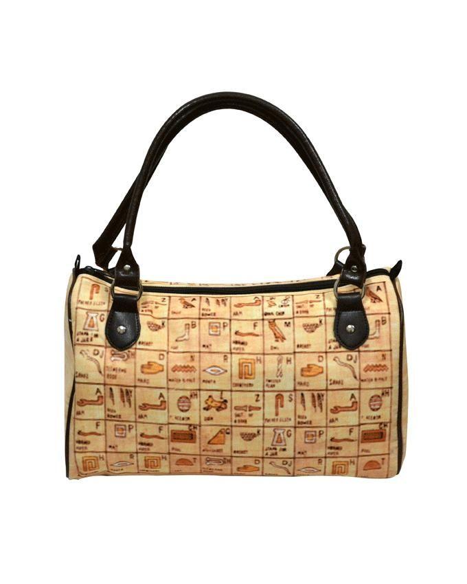 Friends Beige PPC Pharaonic Printed Barrel Bag