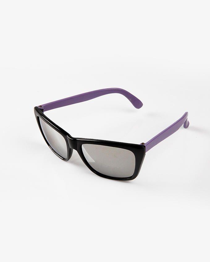Ticomex Dual color Wayfarer Style Kids Sunglasses - Black Frame with Purple Handles