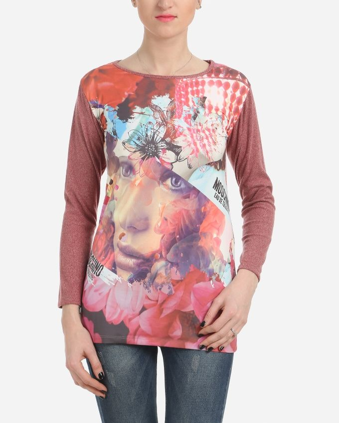 Floral Printed Top - Heather Red