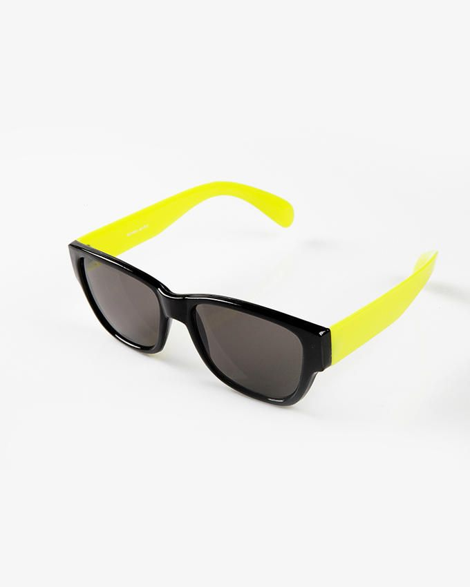 Ticomex Dual Color Oversized Retro Flat Kids Sunglases - Black Frame with Yellow Handles logo