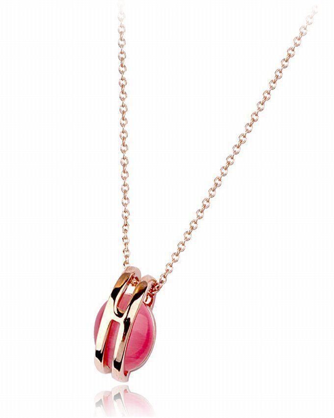Dinardo 18K Rose Gold Plated Swarovski Necklace with Fuchsia Stone logo