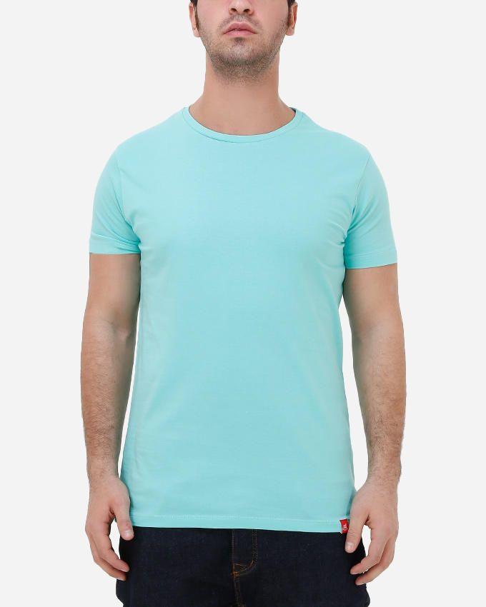 Kaf Cotton Crew Neck Basic T-Shirt - Lucite Green