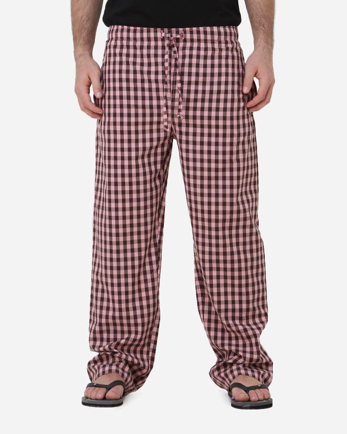 Kaf Antakha checked home pants - Pink/Brown