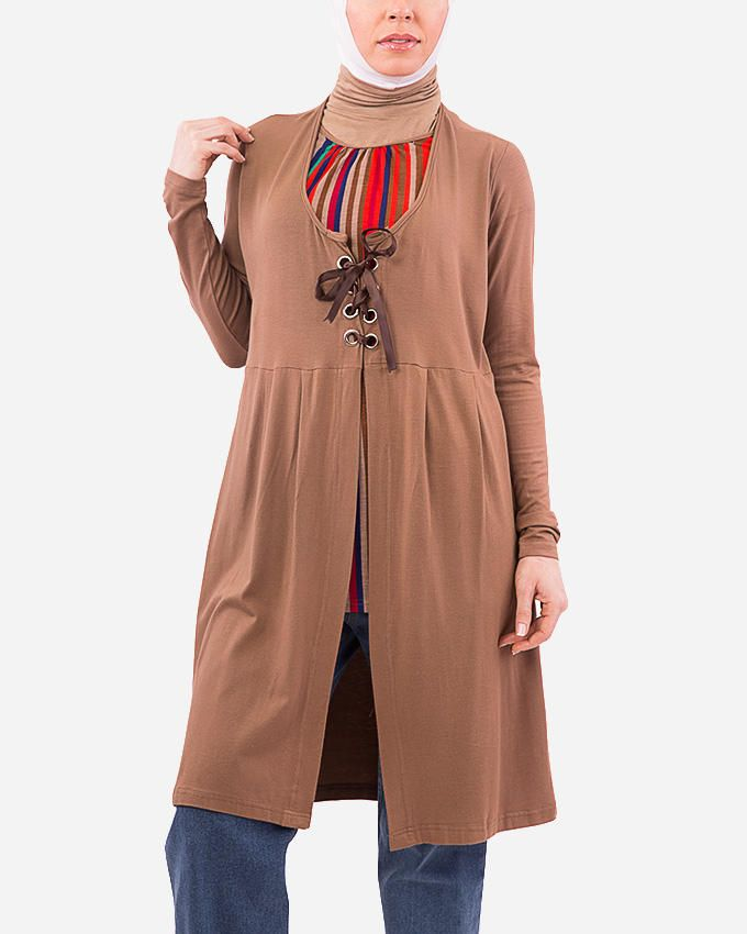 Glow Laced Up Cardigan - Camel