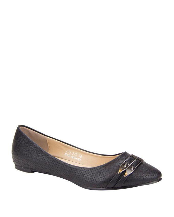 Walkies Black PU Leather Pointed Toecap Ballerinas with Upper Straps logo