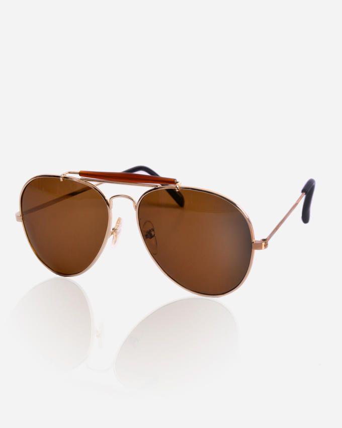 Ticomex Pilot men's Sunglasses - Gold Frame with Brown lenses