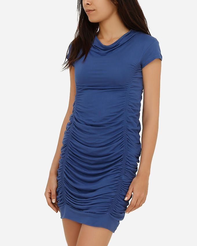 TM a la Mode Draped Bodycon Dress - Indigo Blue logo