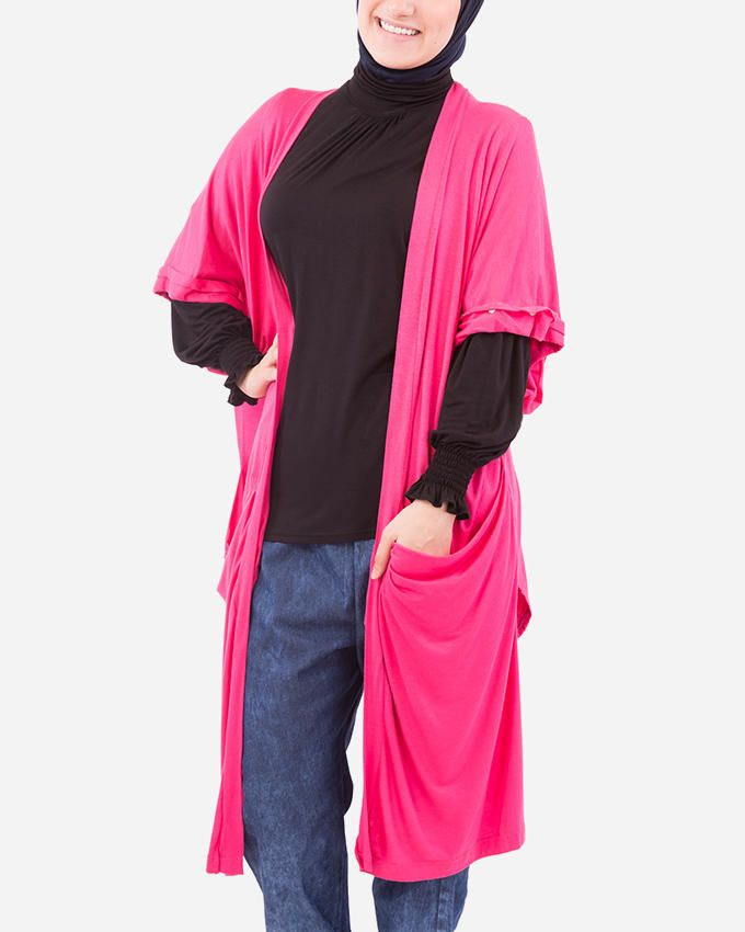 Glow Short Sleeves Cardigan - Fuschia