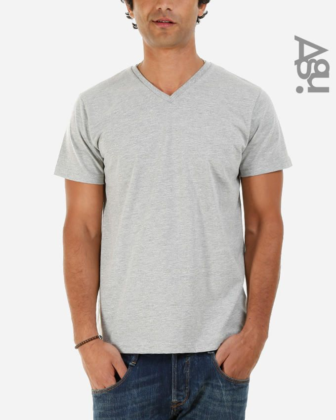 Agu Heather Grey Light Cotton & Polyester V-neck Basic T-shirt