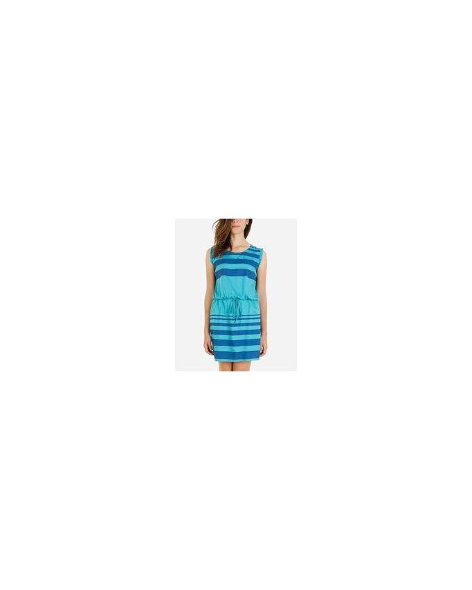 Giro Drawstring Striped Dress - Turquoise & Blue