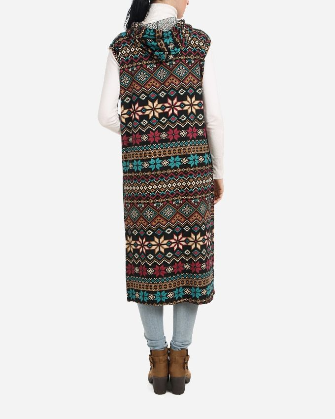 Sleeveless Hooded Cardigan - Black, Turquoise & Dark Pink
