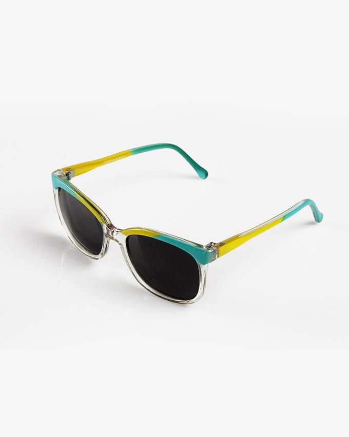 Ticomex Colorful Oval-Shaped Kids Sunglasses with Transparent Bottom Frame - Green & Yellow