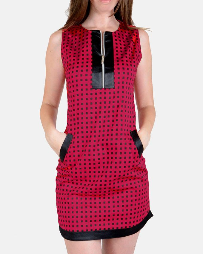 Giro Squared Pattern Gabardine\Cotton Shift Dress - Black/Red